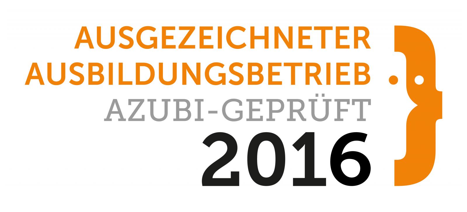 Ausgezeichneter Ausbildungsbetrieb 2016 - Auszeichnung