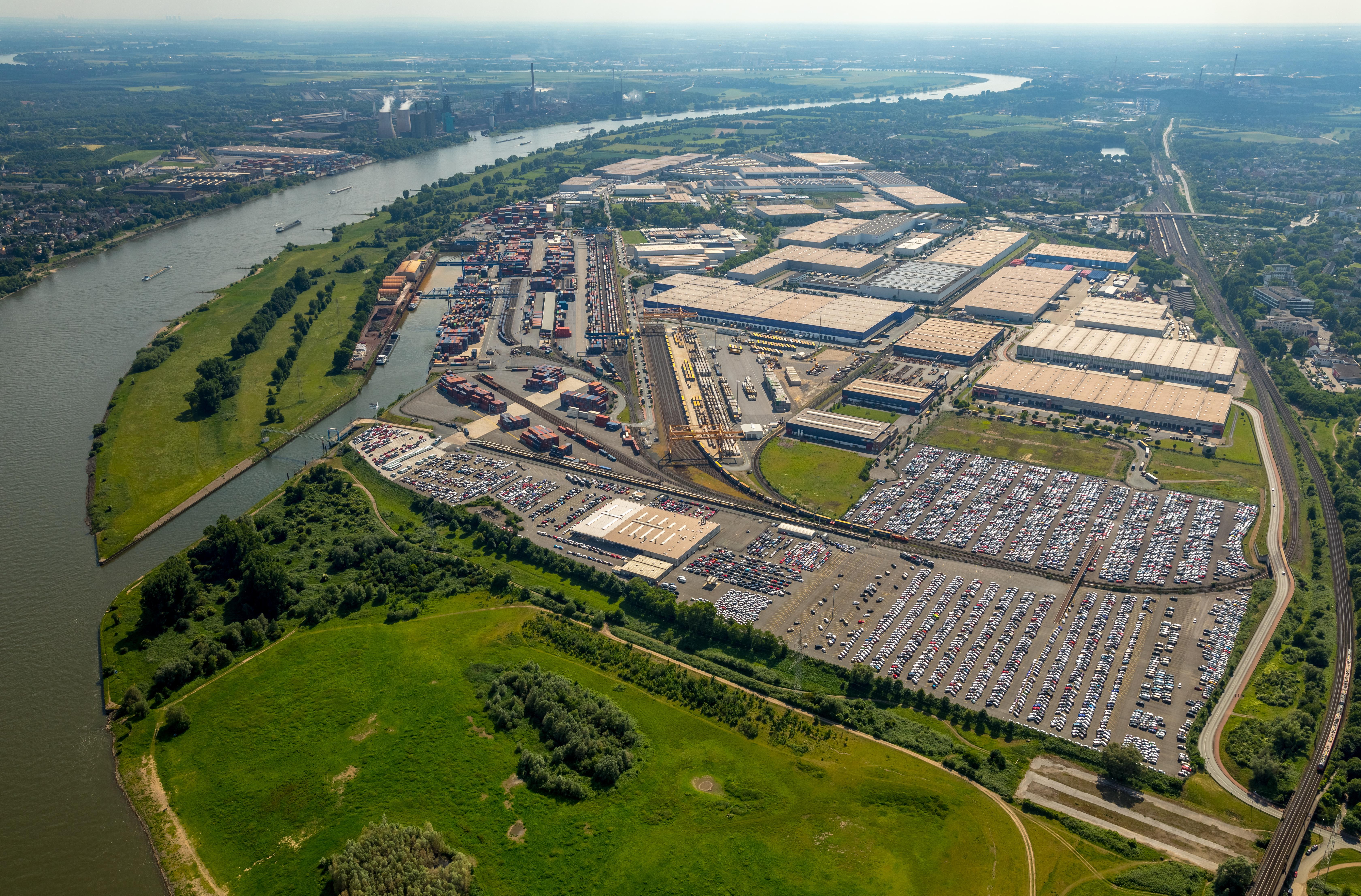 Duisburger Hafen, Logistikstandort Logport 1, Duisburg Rheinhausen, Contailerhafen, rhein, Rheinhausen, Duisburg, Ruhrgebiet, Nordrhein-Westfalen, Deutschland
