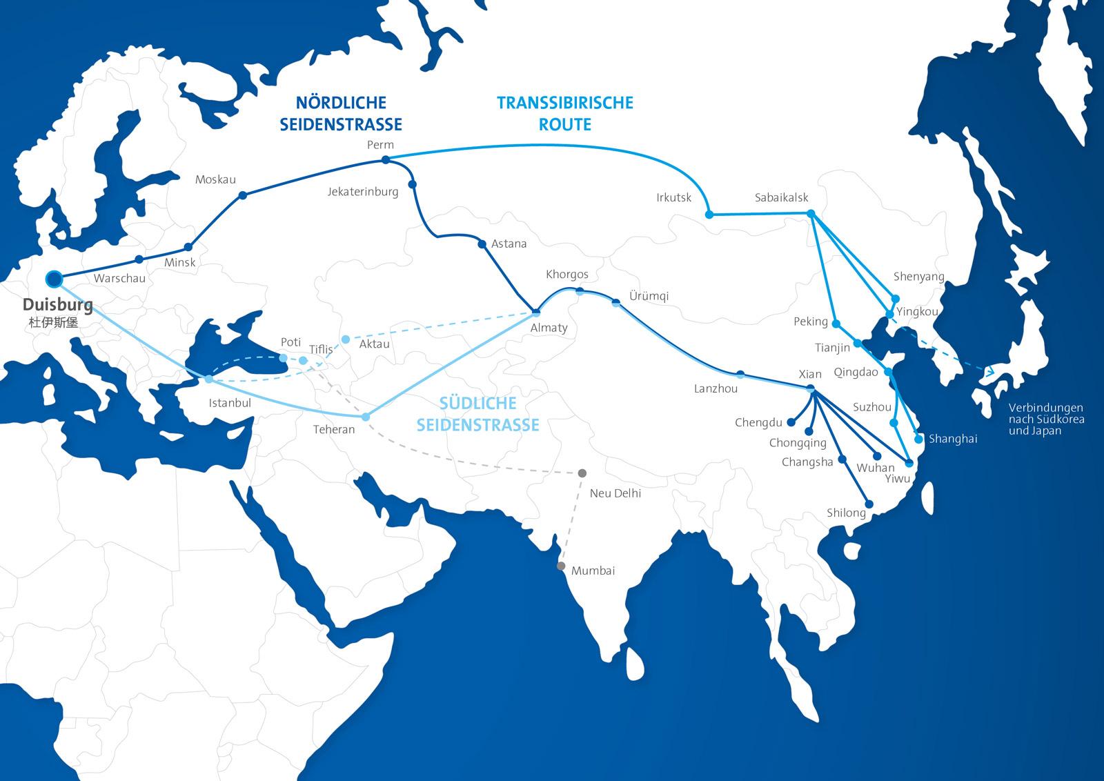 Die neue Seidenstraße zum Chinaverkehr und duisport in Duisburg